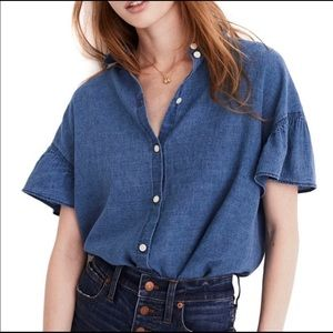 Madewell Central Ruffle-Sleeve Shirt in Indigo XS